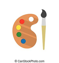 Paint brush with palette - Palette with Paint brush, Icon...