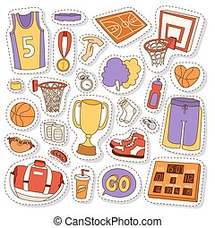 Basketball stickers icons vector.