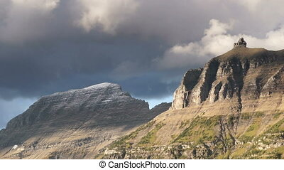 Fast Motion Clouds Move Over Mountains Glacier National Park...