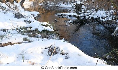 Forest river flowing water late nature winter melted ice...