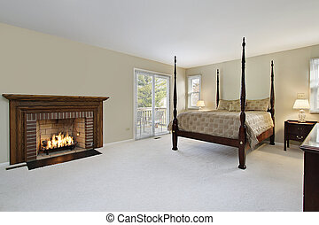Master bedroom with fireplace - Master bedroom with brick...