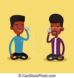 Young friends talking through tin phone. - An african men...