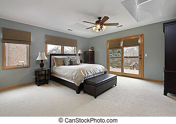 Master bedroom with outside deck