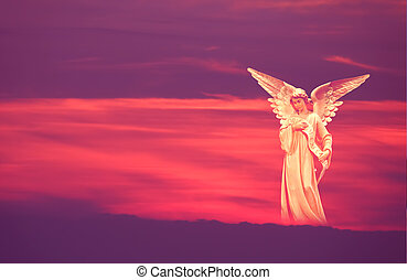 Beautiful angel in heaven - Beautiful angel over pink and...