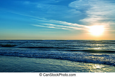 Sunset over ocean or sea background