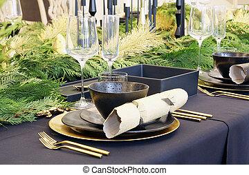 Christmas dinner table - Christmas holiday dinner table set...