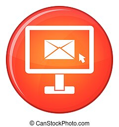 Monitor with email sign icon, flat style