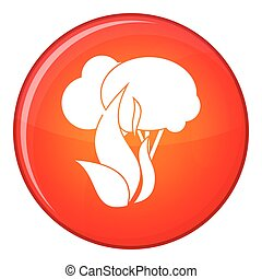 Burning forest trees icon, flat style - Burning forest trees...