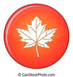 Maple leaf icon, flat style - Maple leaf icon in red circle...