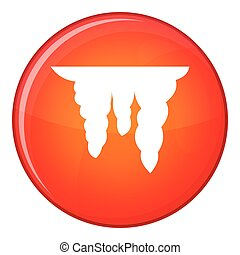 Icicles icon, flat style - Icicles icon in red circle...