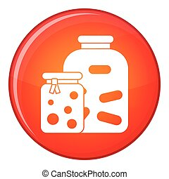 Jars with pickled vegetables and jam icon in red circle...