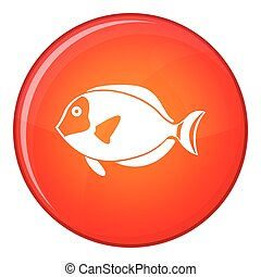Surgeon fish icon, flat style - Surgeon fish icon in red...