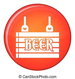 Street signboard of beer icon, flat style