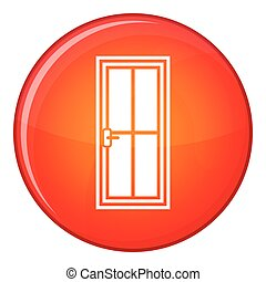 Closed wooden door icon, flat style
