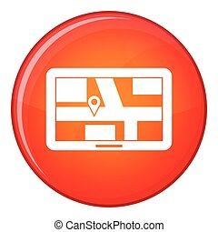 Navigation icon, flat style - Navigation icon in red circle...