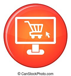 Computer monitor with shopping cart icon