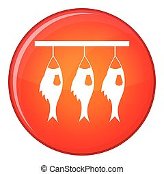 Three dried fish hanging on a rope icon in red circle...