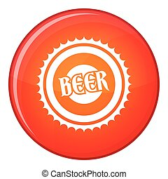 Beer bottle cap icon, flat style