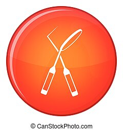 Tooth instruments for dental medicine icon in red circle...