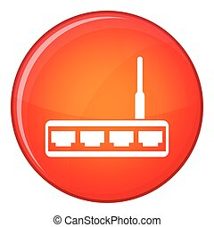 Router icon, flat style - Router icon in red circle isolated...