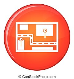 Navigator icon, flat style - Navigator icon in red circle...