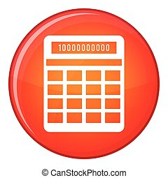 Calculator icon, flat style - Calculator icon in red circle...