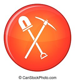 Shovel and pickaxe icon, flat style