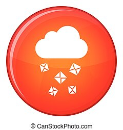 Cloud and hail icon, flat style - Cloud and hail icon in red...
