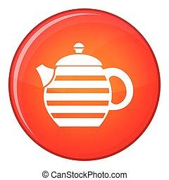 Striped teapot icon, flat style