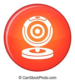 Webcam icon, flat style - Webcam icon in red circle isolated...