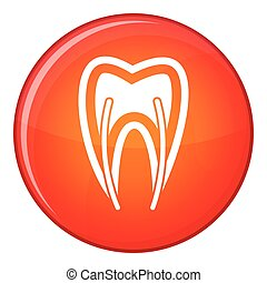 Tooth cross section icon, flat style - Tooth cross section...