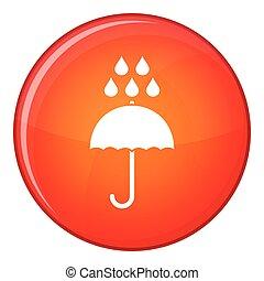 Umbrella and rain drops icon, flat style - Umbrella and rain...