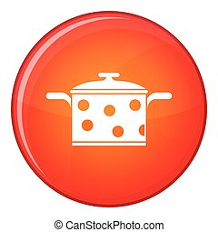 Saucepan with white dots icon, flat style - Saucepan with...