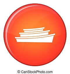 Wooden boat icon, flat style - Wooden boat icon in red...
