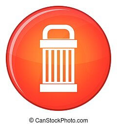 Trash icon, flat style - Trash icon in red circle isolated...