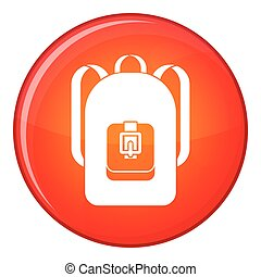 Backpack icon, flat style - Backpack icon in red circle...