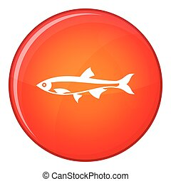 Herring fish icon, flat style - Herring fish icon in red...
