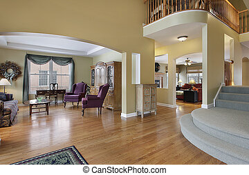 Foyer with living room view - Foyer in upscale home with...