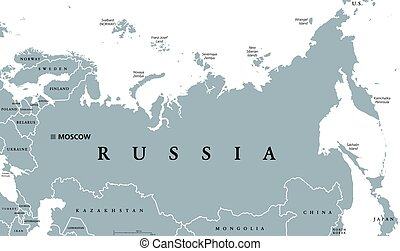 Russia political map with capital Moscow, national borders...