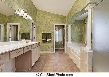 Master bath with tub columns