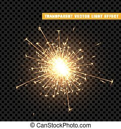 Gold light effect. The effect of gold sparkler. Bright Star...