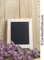 black board with flower for use