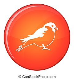 Bullfinch icon, flat style - Bullfinch icon in red circle...