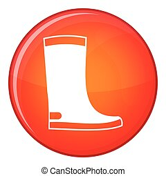 Rubber boots icon, flat style - Rubber boots icon in red...
