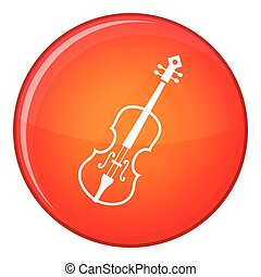 Cello icon, flat style - Cello icon in red circle isolated...