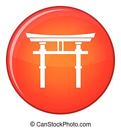 Japanese torii icon, flat style - Japanese torii icon in red...