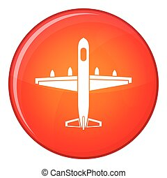Military plane icon, flat style - Military plane icon in red...