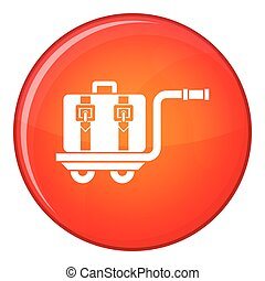 Baggage cart icon, flat style