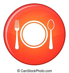 Place setting with plate,spoon and fork icon, flat style -...