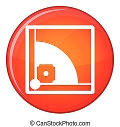 Baseball field icon, flat style